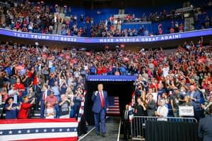 With nation in turmoil, Trump stages first campaign rally in months